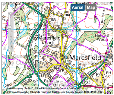 Screenshot of Footpath map from East Sussex County Councils Rights of Way map