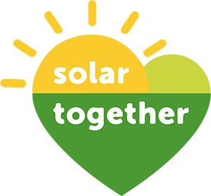 Solar Together logo - green and yellow heart with sun rays