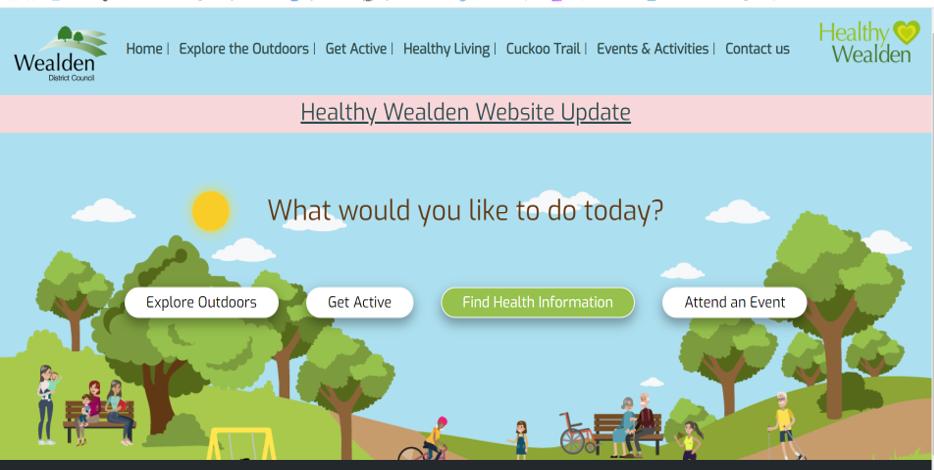Image of the Healthy Wealden Website Homepage