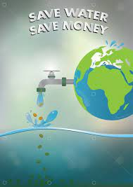 Picture of globe and running tap with text saying save water and money