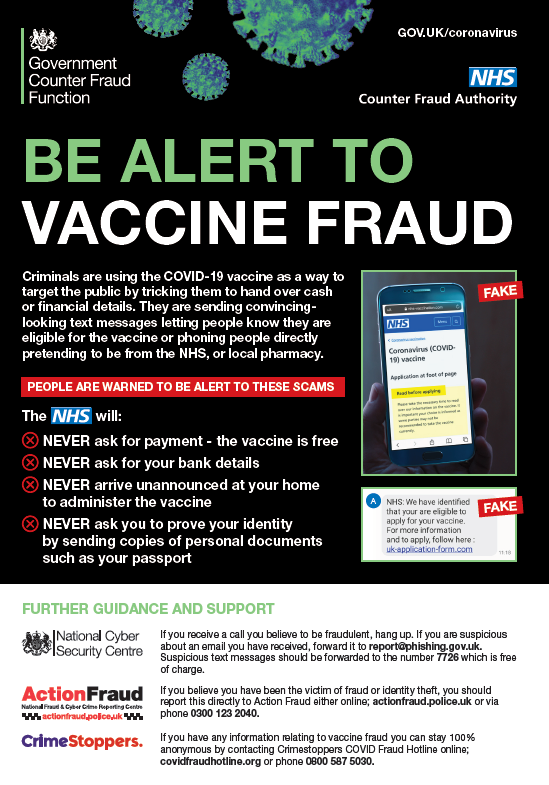 Picture advising that the NHS will never ask for payment for covid-19 vaccine